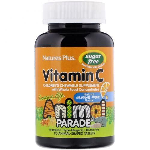 Nature's Plus, Source of Life, Animal Planet, витамин C, не содержит сахара, с ароматом апельсинового сока, 90 животных