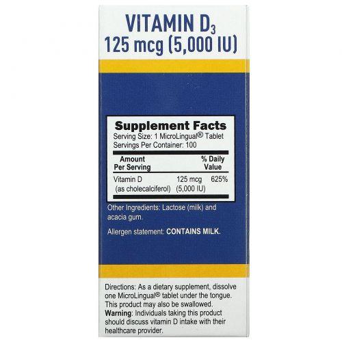 Superior Source, MicroLingual, Витамин D3 повышенной силы действия, 5000 IU, 100 таблеток