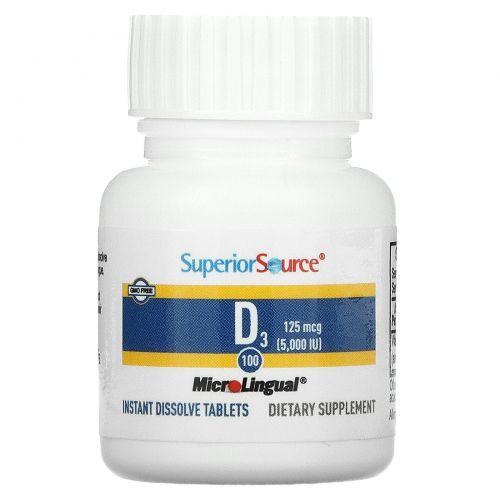 Superior Source, Сверхсильный витамин D3, 5000 МЕ, 100 микролингвальных быстрорастворимых таблеток