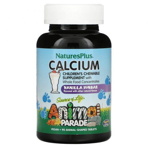 Nature's Plus, Источник жизни, Жевательные таблетки для детей с кальцием с ванильным вкусом, 90 животных