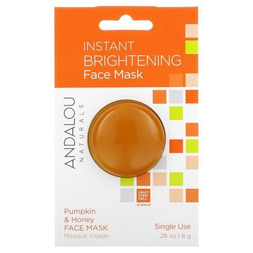 Andalou Naturals, Моментально освежающая маска для лица, тыква и мед, 8 г (28 oz)