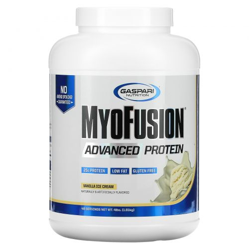 Gaspari Nutrition, MyoFusion, Усовершенствованный протеин, Ванильный пломбир, 1814 г (4 lbs)