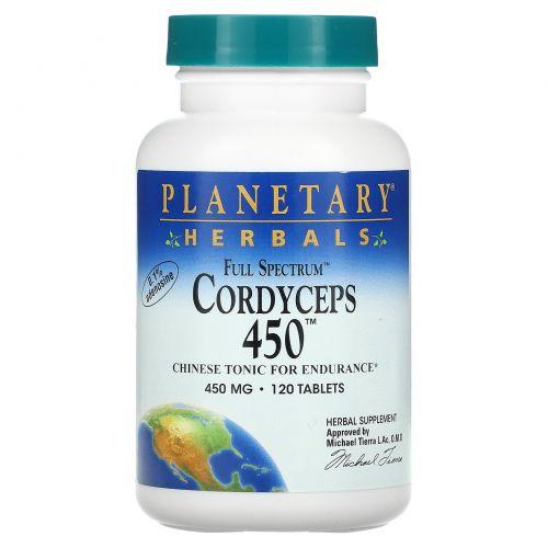 Planetary Herbals, Кордицепс 450, полный спектр, 450 мг, 120 таблеток