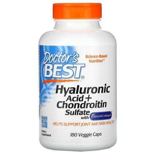 Doctor's Best, Гиалуроновая кислота + сульфат хондроитина , 180 вегетарианских капсул