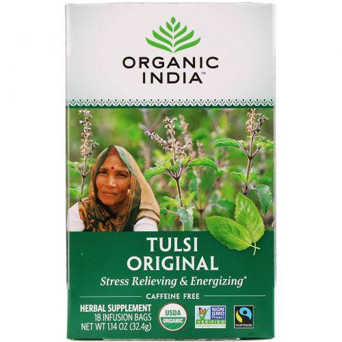 Organic India, Чай Туласи - священный базилик, без кофеина, 18 пакетиков (32.4 г)