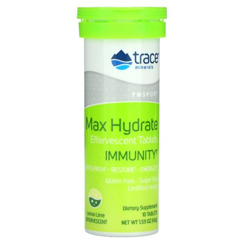 Trace Minerals Research, Max-Hydrate Immunity, High Performance Electrolyte Fizzing Tablets, Lemon Lime, 1.59 oz (45 g)