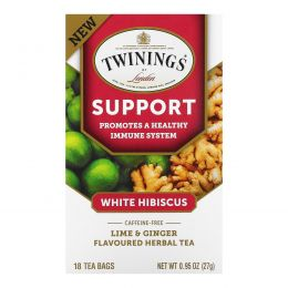 Twinings, Травяной чай для поддержки иммунитета, белый гибискус, лайм и имбирь, без кофеина, 18 пакетиков по 0,95 унц. (27 г)
