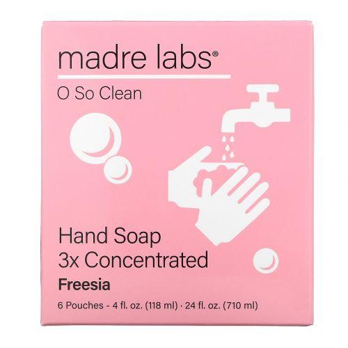 Madre Labs, Hand Soap, Freesia, 6 Pouches, 4 fl oz (118 ml) Each
