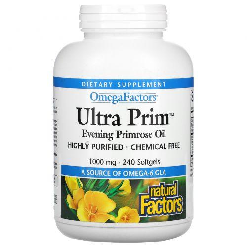 Natural Factors, OmegaFactors, Ultra Prim, Масло вечерней примулы, 1 000 мг, 240 желатиновых капсул