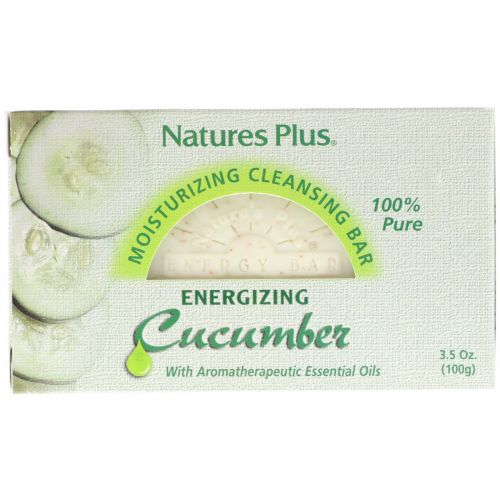 Nature's Plus, Увлажняющее и очищающее мыло, энергия огурца, 3,5 унции (100 г)