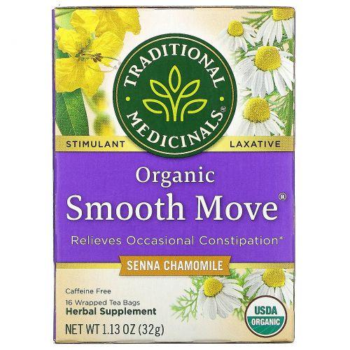Traditional Medicinals, Organic Smooth Move, ромашка, без кофеина, 16 чайных пакетиков, 32 г (1,16 унций)