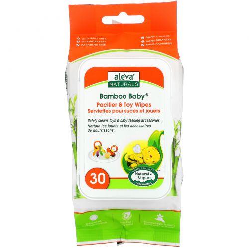 Aleva Naturals, Влажные салфетки Bamboo Baby для игрушек и сосок, 30 влажных салфеток, 5,9x7,9 дюймов (15 x 20 cм)