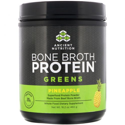 """Ancient Nutrition, """"Белок костного бульона"""", белковый порошок с зеленью, 16,2 унции (460 г)"""