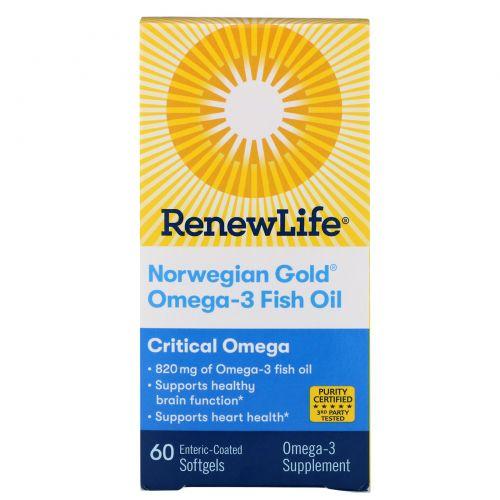 Renew Life, Critical Omega, ультра-концентрированный рыбий жир, натуральный апельсиновый ароматизатор, 1200 мг, 60 капсул