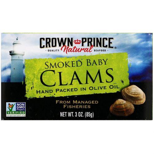 Crown Prince Natural, Копченые молодые мидии в оливковом масле, 3 унции (85 г)