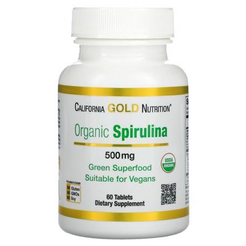 California Gold Nutrition, Органическая спирулина, сертифицирована Министерством сельского хозяйства США, 500 мг, 60 таблеток