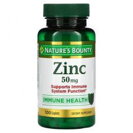 Nature's Bounty, Цинк, хелатированный, 50 мг, 100 капсуловидных таблеток