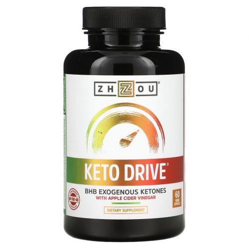 Zhou Nutrition, Keto Drive, экзогенный кетон БГБ, 60 капсул