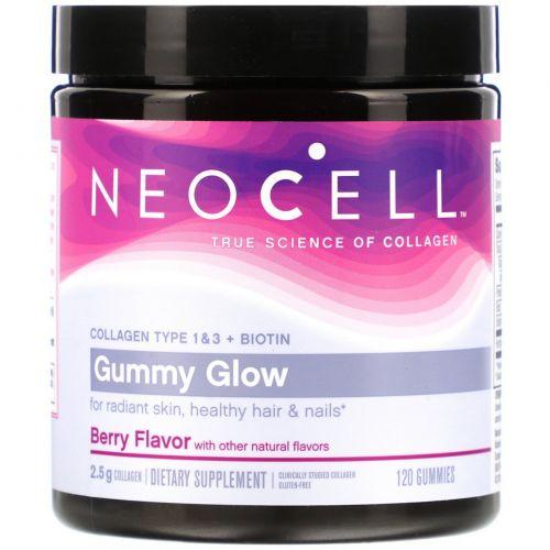 Neocell, Gummy Glow Collagen, Type 1 & 3 + Biotin, Berry, 120 Gummies