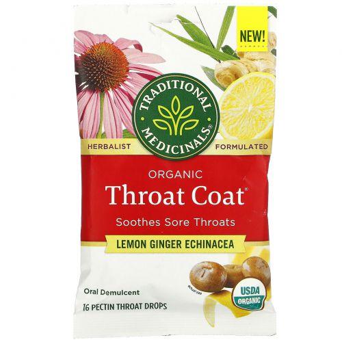 Traditional Medicinals, Organic Throat Coat Drops, Lemon Ginger Echinacea, 16 Pectin Throat Drops