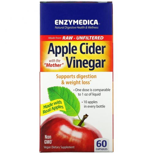 Enzymedica, Яблочный уксус, 60 капсул