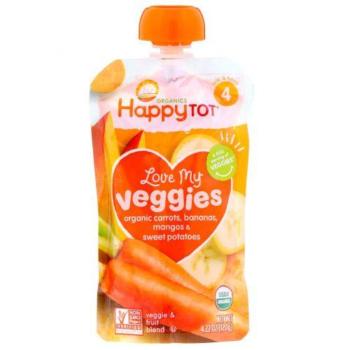 Happy Family Organics, Organics Happy Tot, «Вкусные овощи», органическое пюре из моркови, бананов, манго и батата, 120г
