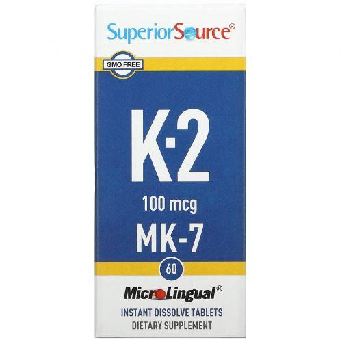 Superior Source, Витамин K2, 100 мкг, 60 микролингвальных быстрорастворимых таблеток
