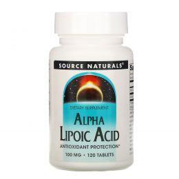 Source Naturals, Альфа-липоевая кислота, 100 мг, 120 таблеток