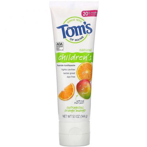 Tom's of Maine, Natural Children's Fluoride Toothpaste, Outrageous Orange Mango, 5.1 oz (144 g)