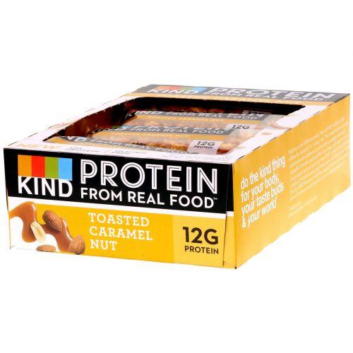 KIND Bars, Протеиновые батончики, Жареная карамель и орех, 12 баточников, 1,76 унц. (50 г) каждый