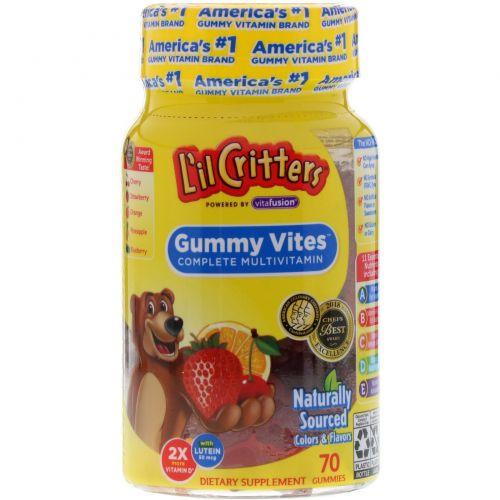 L'il Critters, Gummy Vites, мультивитамины, натуральный фруктовый вкус, 70 жевательных таблеток