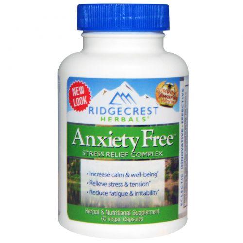 Ridge Crest Herbals, Комплекс для избавления от тревоги и стресса, 60 веганских капсул