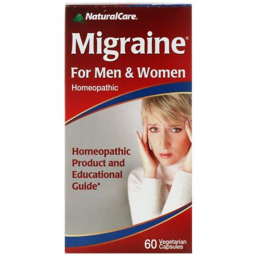 Natural Care, Средство от мигрени, для мужчин и женщин, 60 капсул