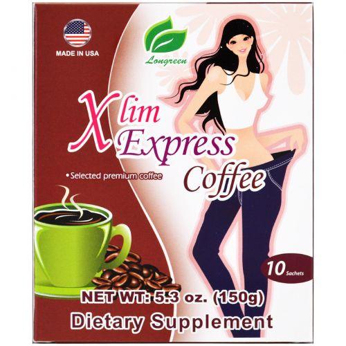 Longreen Corporation, Xlim Express Coffee, 10 Sachets, 5.3 oz (150 g)