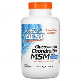 Doctor's Best, Глюкозамин хондроитин MSM с OptiMSM, 360 растительных капсул