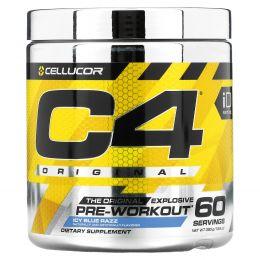 Cellucor, C4 Оригинальный Взрывной, Предтренировочная формула, Ледяная голубая малина, 13,8 унц. (390 г)