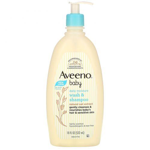Aveeno, Детский шампунь и средство для мытья тела, с легким запахом, 18 жидких унций  (532 мл)