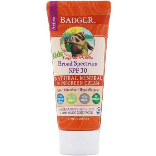 Badger Company, Active Kids, Солнцезащитный крем с оксидом цинка, SPF 30, мандарин и ваниль, 2.9 жидких унций (87 мл)
