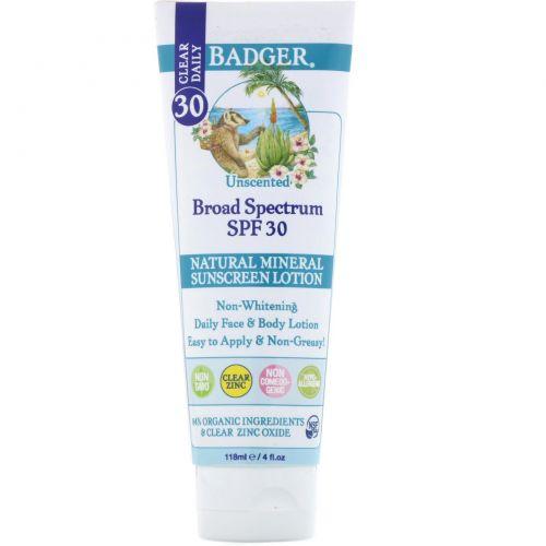 Badger Company, Clear Daily, натуральный минеральный солнцезащитный лосьон, чистый цинк, фактор защиты от солнца 30, без запаха, 4 жидких унции (118 мл)