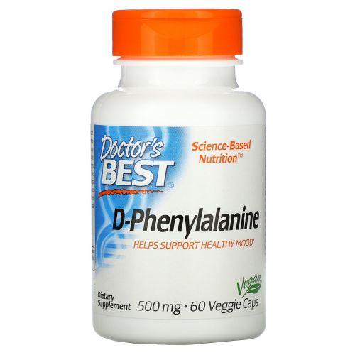 Doctor's Best, D-фенилаланин, 500 мг, 60 вегетарианских капсул