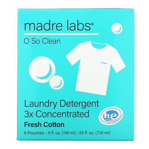 Madre Labs, моющее средство для стирки, тройной концентрации, свежесть хлопка, 6пакетиков по 118мл (4жидк.унции)