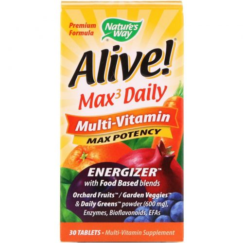 Nature's Way, Alive!, Max3 Daily Multi-Vitamin, 30 Tablets