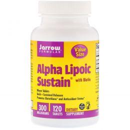 Jarrow Formulas, Выдержка альфа-липоевой кислоты с биотином, 300 мг, 120 таблеток