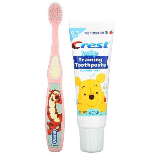 Crest, Baby Training Toothpaste Kit, Soft, 0-3 Years, Winnie the Pooh, Mild Strawberry, 1 Kit