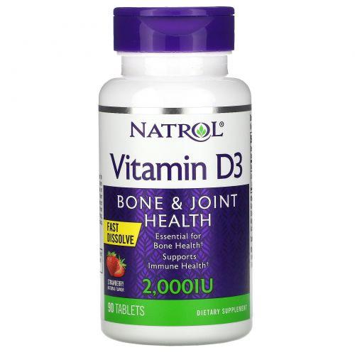 Natrol, Витамин D3, Быстрорастворимый, Натуральный клубничный вкус, 2,000 МЕ, 90 таблеток