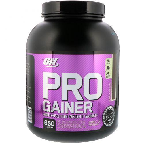 Optimum Nutrition, Pro Gainer, для набора веса с высоким содержанием белка, двойной шоколад, 2,31 кг (5,09 фунтов)