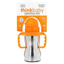 Think, Thinkbaby, Thinkster of Steel Bottle, Orange, 1 Straw Bottle, 10 oz (290 ml)