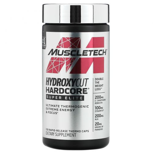 Muscletech, Hydroxycut Hardcore, Super Elite, 120 Rapid-Release Thermo Caps
