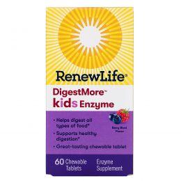 """Renew Life, """"Разумное пищеварение"""", пищевая добавка с ферментами для детей, со вкусом ягодного взрыва, 60 жевательных таблеток"""
