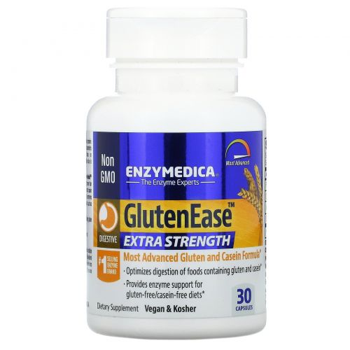 Enzymedica, GlutenEase, супер сила, 30 капсул